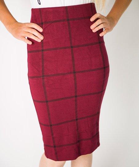 8f8ec38607 Cents of Style Wine & Gray Windowpane Pencil Skirt | Zulily