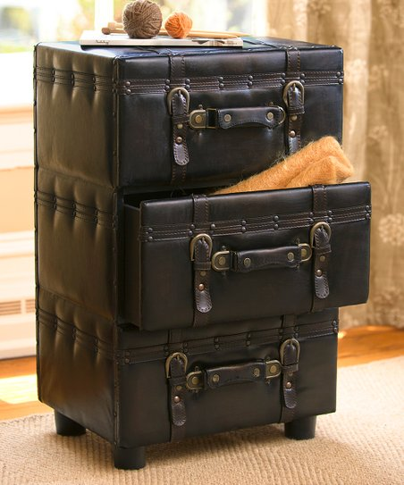 Plow Hearth Faux Leather Trunk Side Table
