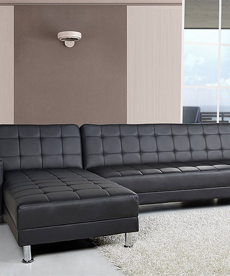 Gold Sparrow Black Frankfort Convertible Sectional Sofa Bed Zulily
