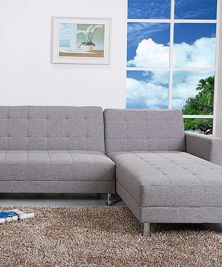 Gold Sparrow Ash Gray Frankfort Convertible Sectional/Sofa Bed | Zulily