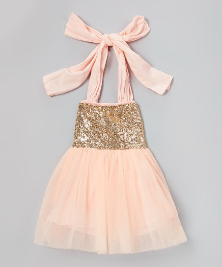 9a848b8a406e love this product Pink   Gold Sparkle Halter Dress - Infant