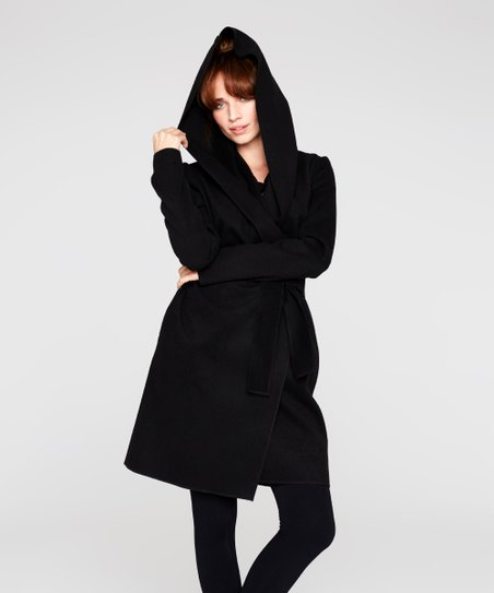 149d3a9e5 Peperuna Black Hooded Wool-Blend Coat - Women | Zulily
