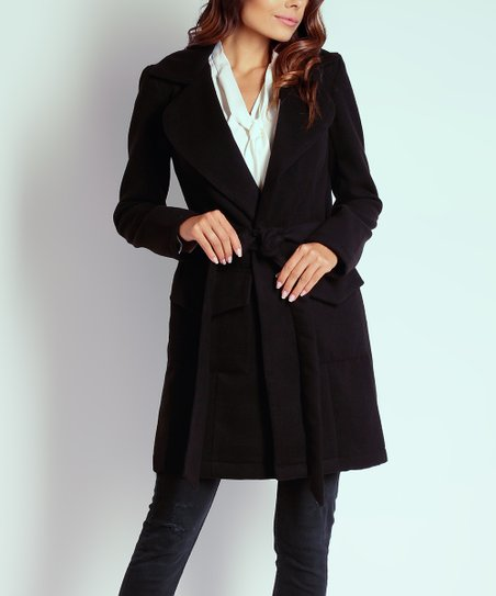 c82e08ba0467b NAOKO Black Wool-Blend Trench Coat - Women