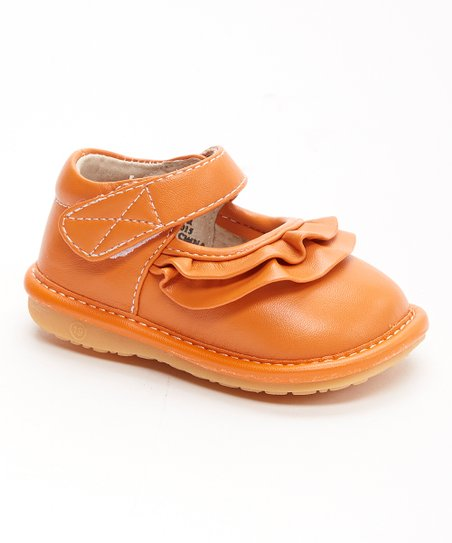 8ca14a3d686eb4 love this product Orange Ruffle Squeaker Mary Jane - Girls