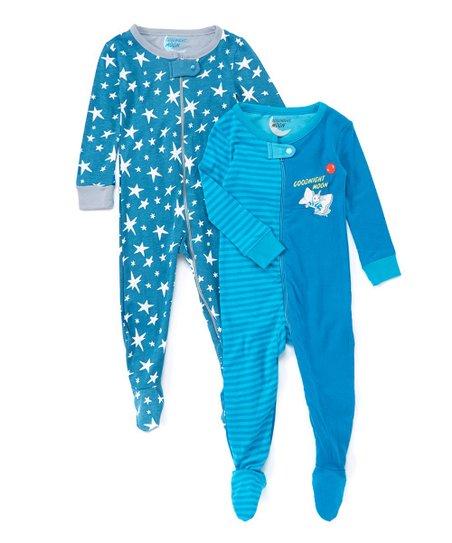 43b6b9051 Intimo Goodnight Moon Blue   White Stars Footie Pajama Set - Infant ...