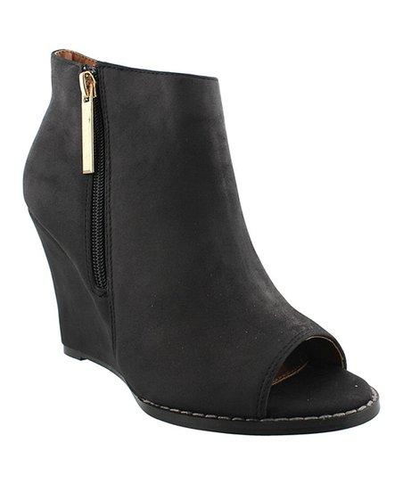Black Lupita Peep-Toe Wedge Bootie