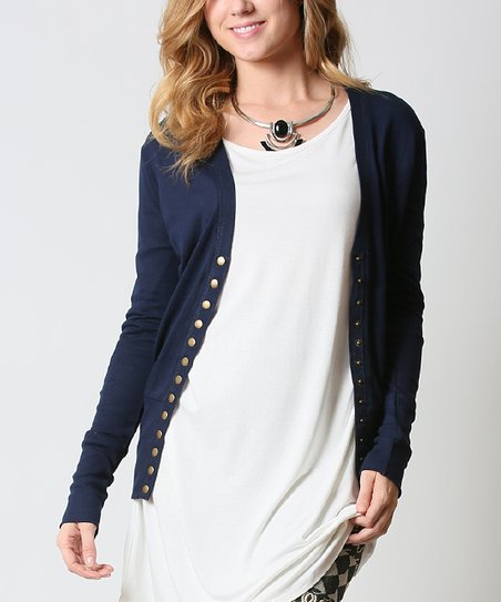 really comfortable best shoes purchase newest 42POPS Navy Snap-Front Cardigan | Zulily