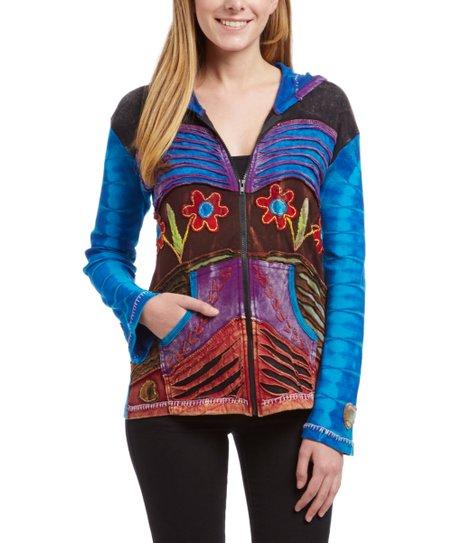 Royal Handicrafts Turquoise Floral Razor Cut Zip Up Jacket Plus