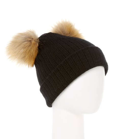 0cac2ee598984f Sierra Accessory Group Black & Natural Faux Fur Double Pom-Pom ...
