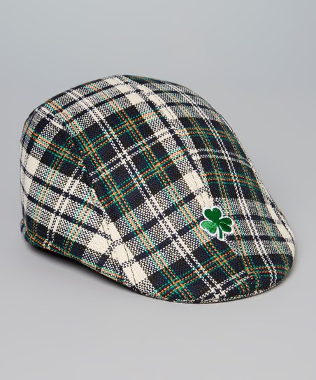 ishopirish Black & Green Plaid Shamrock Newsboy Cap - Kids