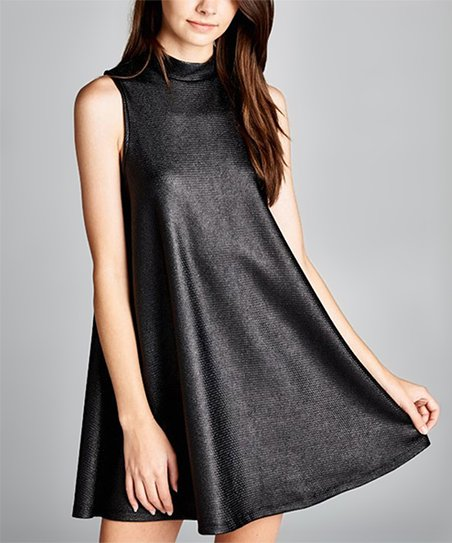 84c25ee3b40ed Love, Kuza Black Faux Leather Swing Dress | Zulily