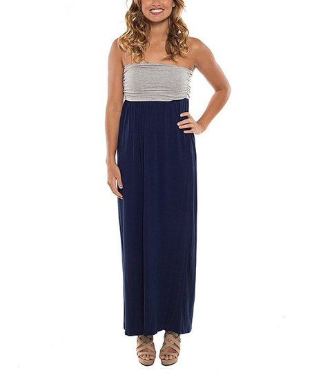 13a9ae0034 Coveted Clothing Gray   Navy Color Block Strapless Maxi Dress ...