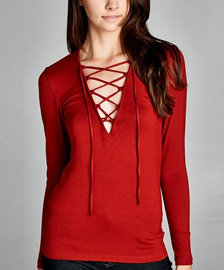 Love Kuza Red Lace Up Top Women Zulily