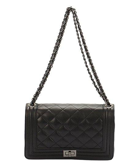 Black Quilted Chain Strap Leather Shoulder Bag