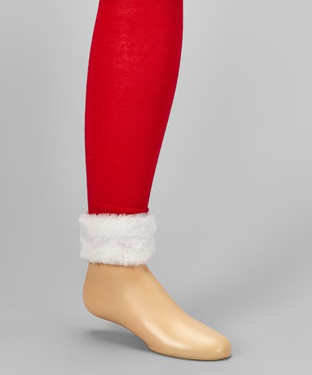 8143230c2d6 love this product Red   White Faux Fur-Trim Footless Tights - Infant