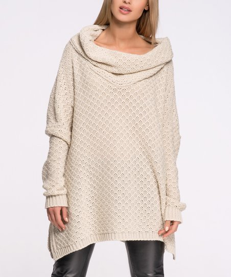 c7c6a20feb Makadamia Beige Oversize Cowl Neck Sweater - Women