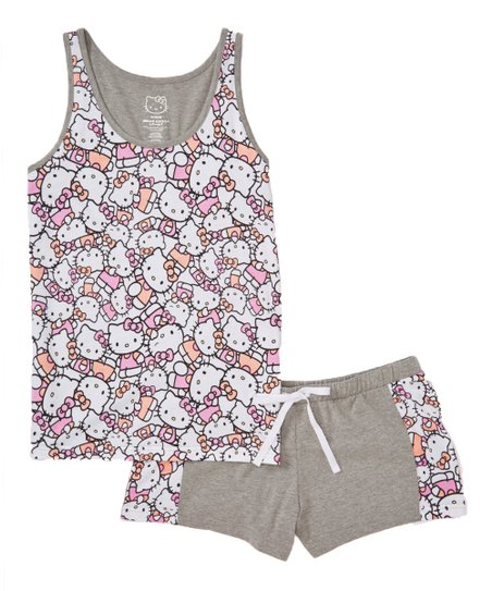 69892307b Age Group Ltd. Gray & Pink Hello Kitty Pajama Shorts Set - Juniors ...
