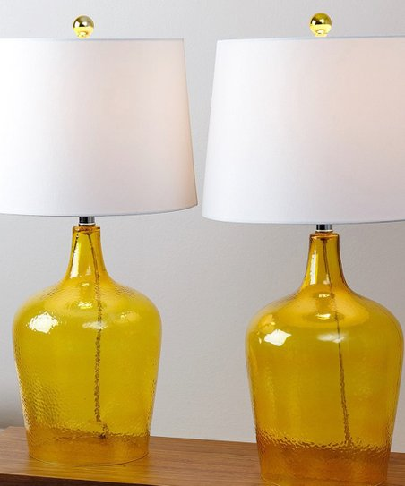 97b016478d69 love this product Amber Yellow Glass Table Lamp - Set of Two