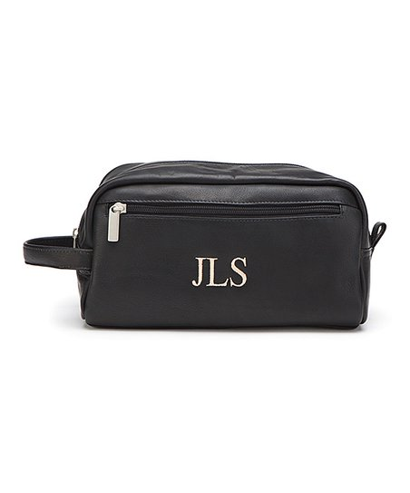 b2acc22f4074 Personalized Planet Black Leather Initial Toiletry Bag
