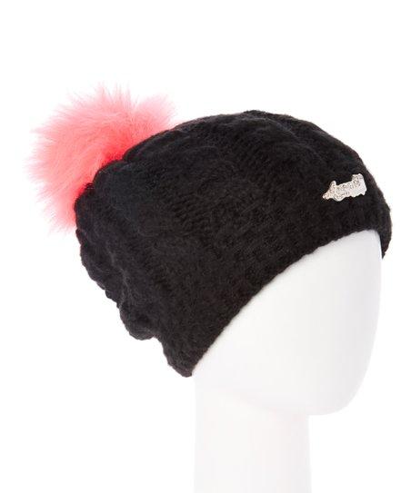 fa133e5d2a7 Avanti Wear Black   Candy Pink Faux Fur Pom-Pom Slouchy-Knit Beanie ...
