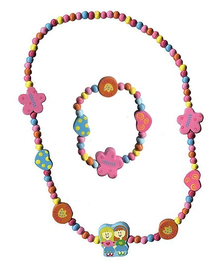 Jewellery & Watches Blue And Pink Beaded Necklace And Bracelet Costume Jewellery