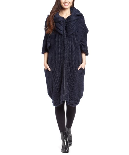 a067a85eea633e love this product Navy Cable-Knit Hooded Oversize Cardigan