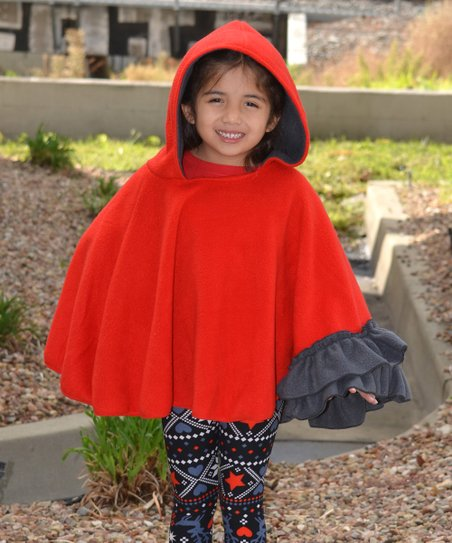 Beary Basics Red & Charcoal Hooded Poncho - Toddler & Girls