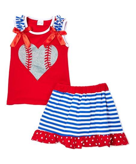 7e35e7c99dc2 love this product Red   Blue Baseball Heart Top   Skirt - Kids   Tween
