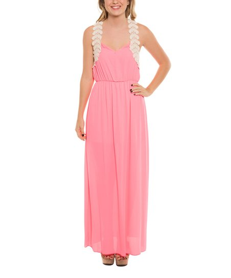 Coveted Clothing Neon Pink Lace Trim Maxi Dress Women