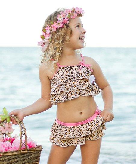 9b3e45b4f639f love this product Pink Animal-Print Ruffle Bikini Top & Bottoms - Toddler