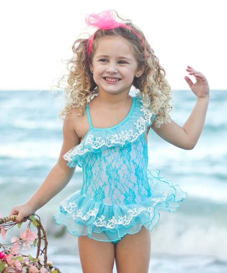 56cffbca212fe Mia Belle Girls Teal Ruffle Bathing Suit - Toddler & Girls | Zulily