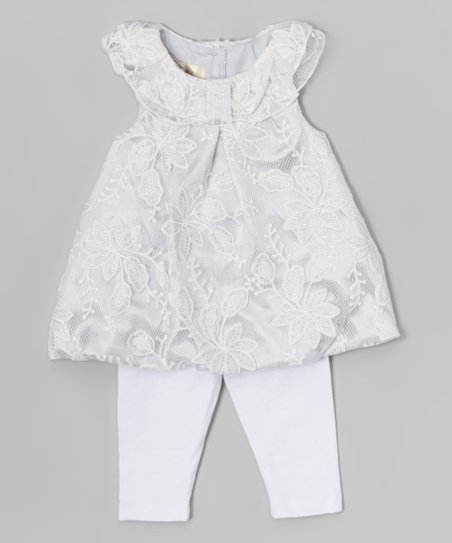 0265f165cbbd64 love this product White Sparkle Lace Dress & Leggings - Newborn & Infant
