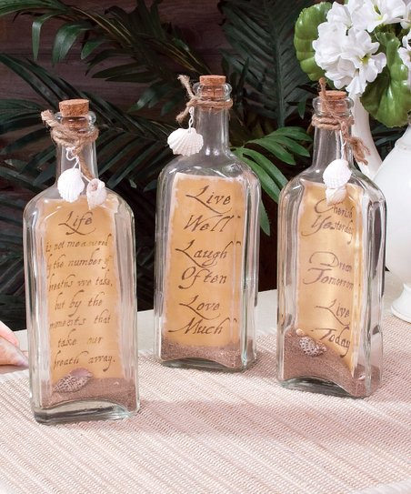 Timeless By Design Message In A Bottle Decor Set Of Three Zulily