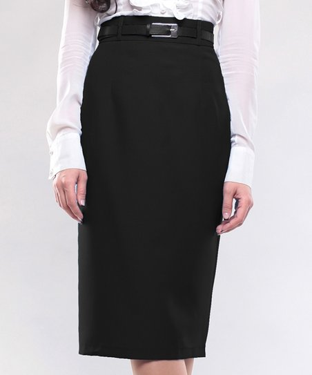 Laura Bettini Black Belted Pencil Skirt Plus Too Zulily