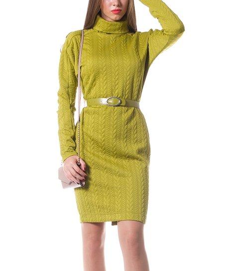 648b98db667 OKS by Oksana Demchenko Mustard Braid-Knit Belted Turtleneck Dress ...