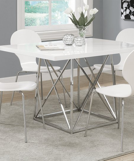 Monarch Specialties Glossy White Chrome Dining Table