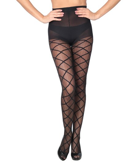 c03abd77e83 Joan Vass Black Sheer Textured Diamond Tights - Women