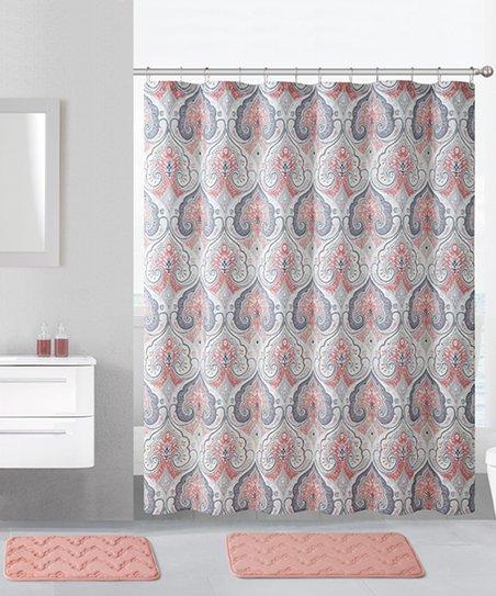 Coral Beryl Shower Curtain Hooks Bath Rug Set