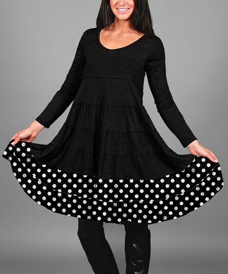 f9a258ca89df Simply Aster Black & White Floral Polka Dot-Trim Tunic - Women | Zulily