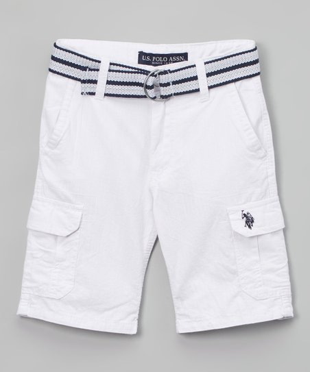 c44c890e59 U.S. Polo Assn. White Belted Twill Cargo Shorts - Toddler & Boys ...