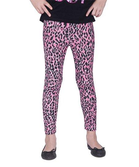 08ba829d8f4b0 Sunshine Swing Pink Leopard Leggings - Girls | Zulily