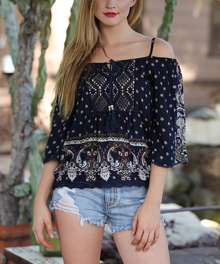 a9533830278c6 love this product Navy Floral Crochet-Yoke Off-Shoulder Top