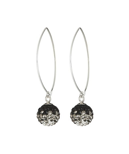 Black White Hanging Ball Earrings With Swarovski Crystals
