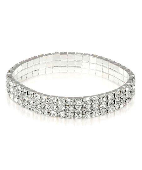 Yeidid International Silvertone Three-Row Stretch Bracelet With Swarovski®  Crystal
