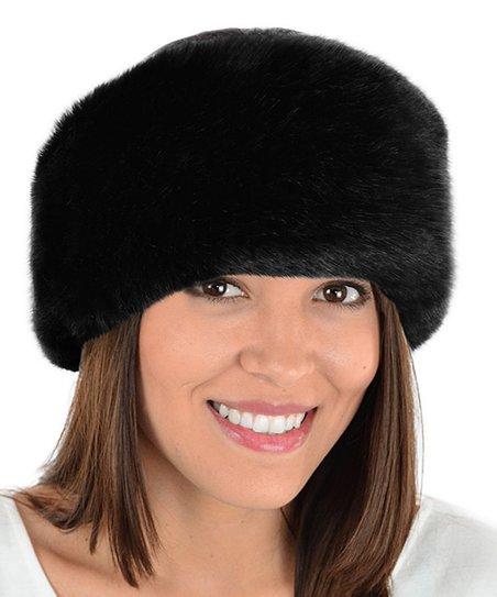 61aaa31831a7f Silk & Sable Black Sheared Beaver & Black Fox Faux Fur Hat   Zulily