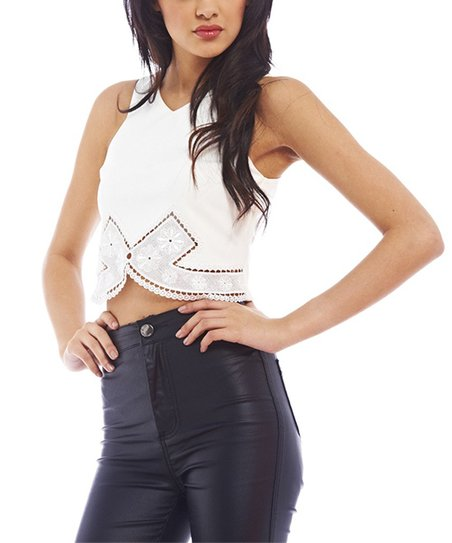 4ac9118f18fad2 love this product White V-Neck Embroidered Hem Crop Top - Women