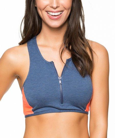 6a20fb8b25b1a love this product Navy   Peach Blocked   Blue Bikini Top