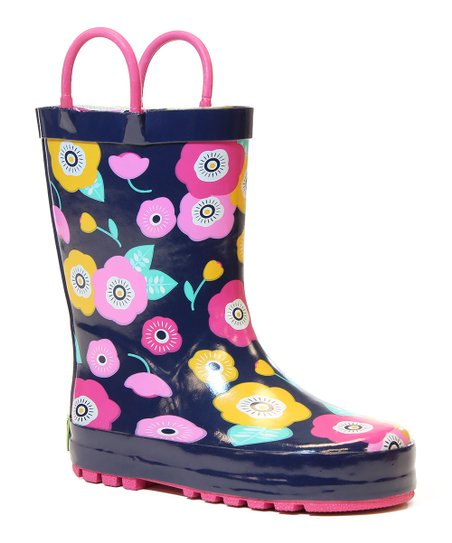 Navy Pretty Petunias Rain Boot