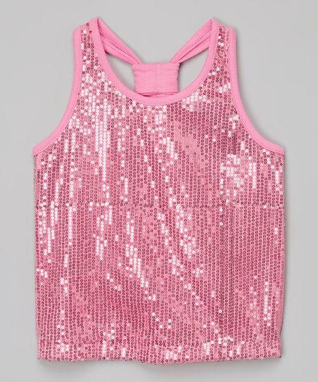 9c594b18206aa1 Lipstik Girls Light Pink Sequin Racerback Top - Toddler & Girls | Zulily