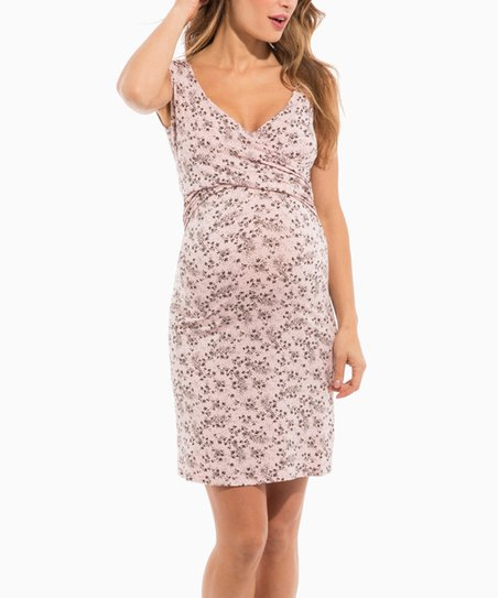 39ed7d230be7a love this product Pink Floral Lydia Maternity/Nursing Surplice Nightgown
